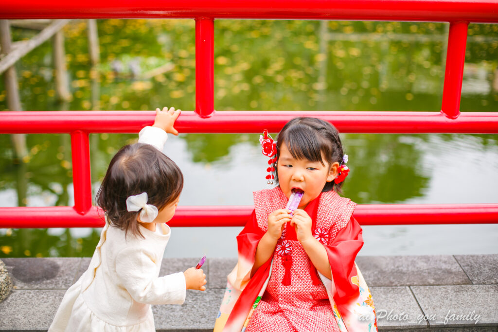 東京スカイツリーが見える亀戸天神社での七五三出張撮影レポート