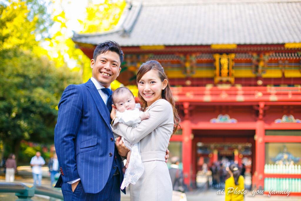 東京・根津神社にてお宮参りの出張撮影
