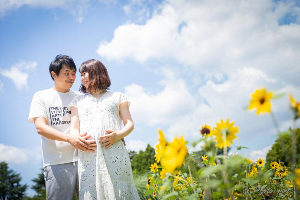 【東京|昭和記念公園】ひまわりの中でのマタニティフォト